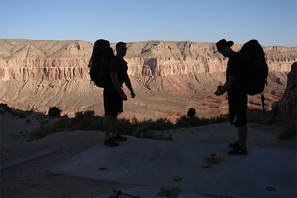backpackers at the trailhead for Havasupai (Hualapai Hilltop)