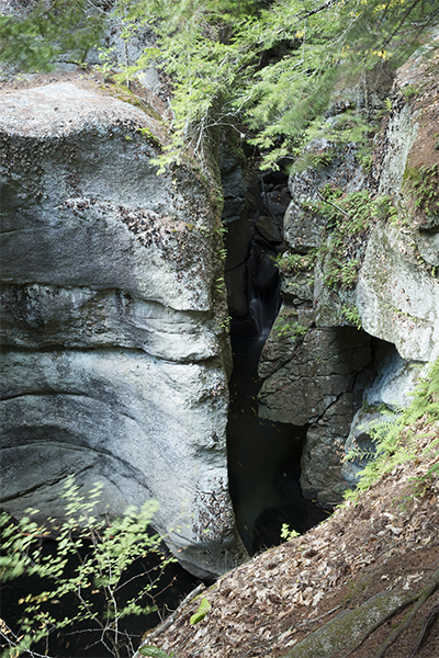 the main waterfall at Kezar Falls is hidden within these gorge walls