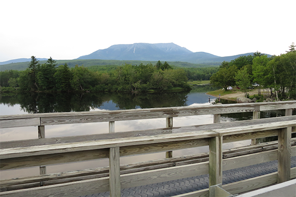 the view of Katahdin from Abol Bridge on the way to Nesowadnehunk Falls