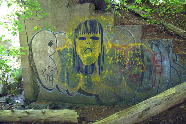 some of the (unfortunate) graffiti found at Webhannet Falls, Maine