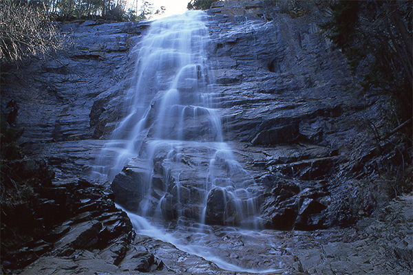Arethusa Falls, photographed with Fuji Velvia 50 slide film