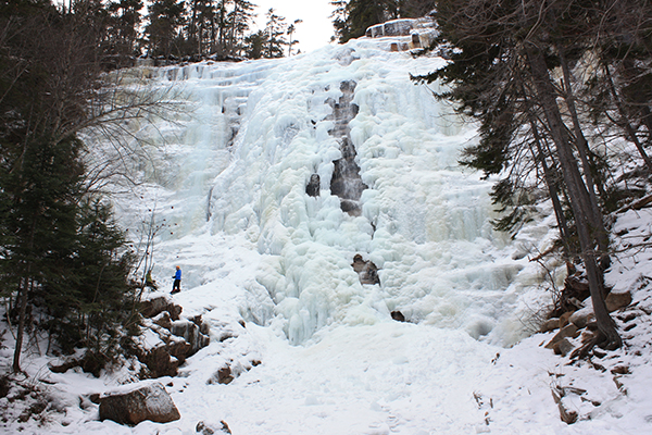 Arethusa Falls in winter, where it is popular with ice climbers
