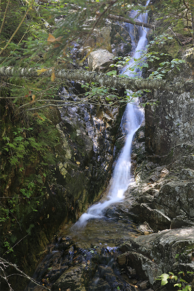 the initial view from the trail of Beecher Cascade, New Hampshire