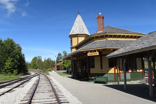 the Crawford Depot, which sits beside the trailhead for Beecher & Pearl Cascades