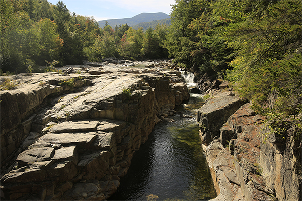 the view from the bridge downstream of Rocky Gorge, New Hampshire
