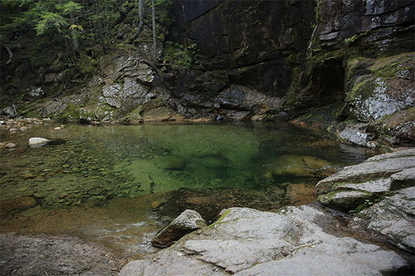 the beautiful pool below the lower falls at Sabbaday Falls, New Hampshire