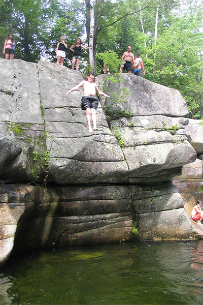 cliff-jumping at Upper Ammonoosuc Falls, New Hampshire