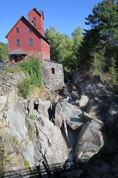 the lower cascades and the Old Mill at Browns River Falls, Vermont