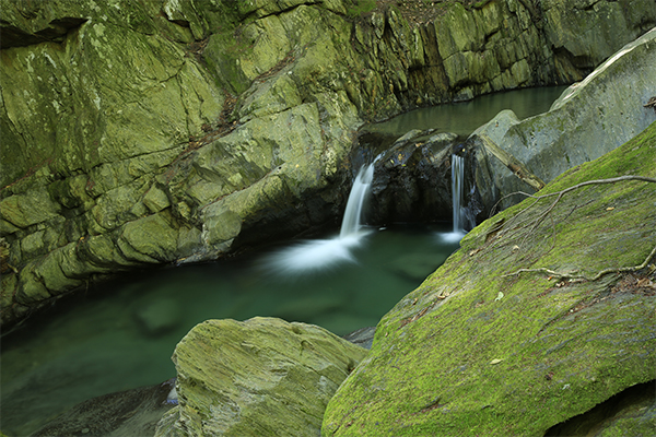 an upper pool at Honey Hollow Falls, Vermont