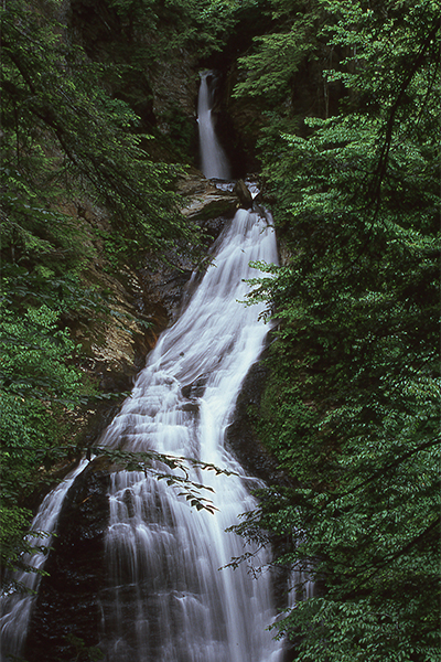 the upper falls at Moss Glen Falls, Stowe, Vermont