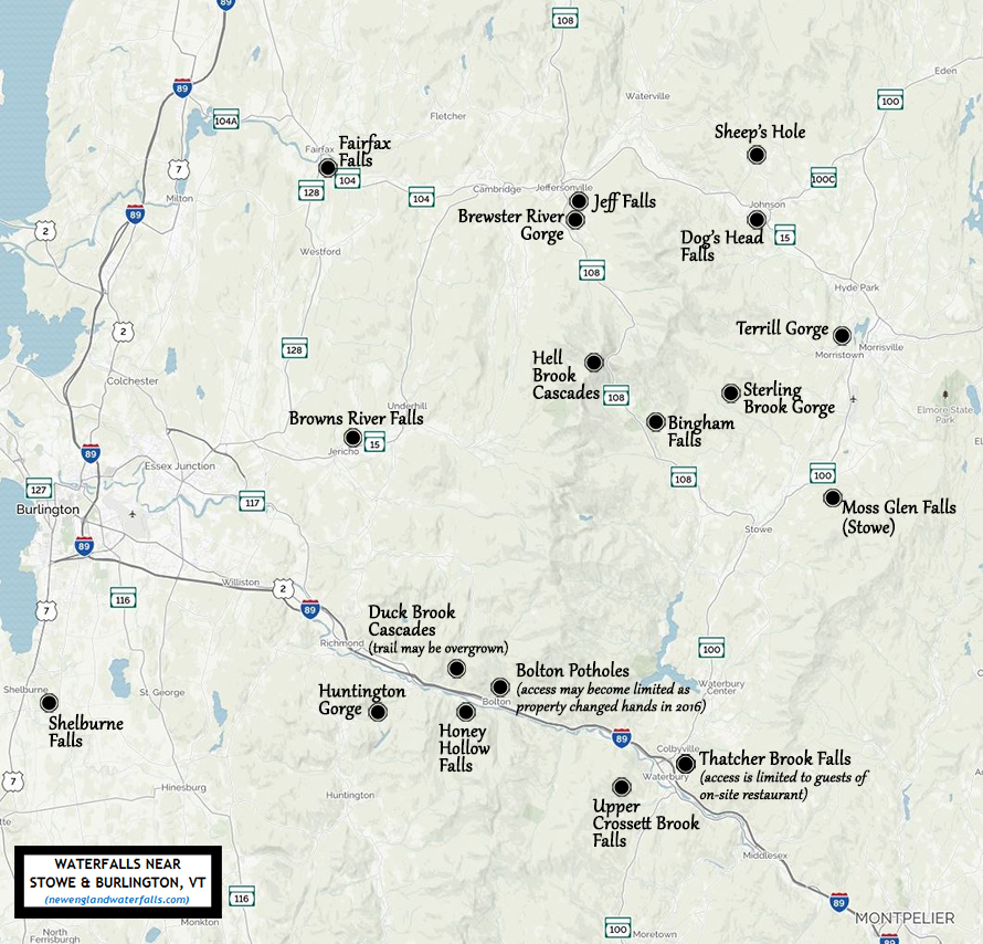 map of waterfalls near Stowe, Vermont